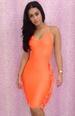 Hanging Neck Orange Backless DRESS With Tassels LB9422