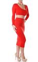 Red Long Sleeve Bodycon Two Piece DRESS LB9453