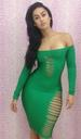 Green Off-Shoulder Hollow Out Party DRESS (S,M,L) LB9420