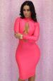 Fashion Pink Open Front Sexy Ladies DRESS LB9405