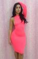 Sexy Rose Red One Shoulder Long Sleeve DRESS