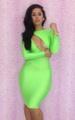 Hot Open Front Girl DRESS In Fluorescent Green (S,M,L) LB9154