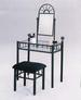 Furniture, 2 Pcs Sandy Black Vanity Set: 1 Table, 1 CHAIR