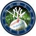 Chrome Round Wall Clock MLB New York YANKEES