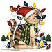 Apparel T-shirts HOLIDAYs Christmas Day Printed:''Christmas Kitty''