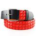 3-Row Metal Pyramid Studded LEATHER Belt Unisex Mens Womens