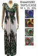 Wholesale Peacock Long DRESS with V Neck Assorted