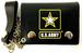 Official LICENSED US Army black star leather chain trifold wallet