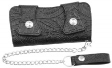Casual Outfitters Solid Genuine LEATHER Chain Wallet - Embossed