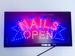 LED Sign Light NAILS OPEN 19'' X 10'' On/off with Chain