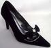 Womens Evening SHOES In Black Velvet -  With Rhinestones