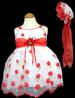 ''Baby Anne'' Girls Embroidered DRESS &  Hat - Red  (Infant)