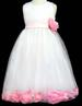 Girls Sleeveless DRESS With Silk Flowers - Pink