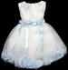 Girls Embroidered DRESS With Silk Petals - Baby Blue (9-24Mos)