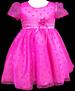 Girls Polka Dots Fancy Organza DRESS - Fuchsia  (Sizes: 3-6)