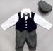 HOLIDAY Style Boys Knicker Set With Velvet Vest - Navy Blue (1-4)