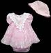 Girls 3Pc Fancy Lace DRESS - Sizes: 9 - 24 Mos - Pink