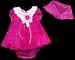 Girls 3Pc Fancy Lace DRESS - Sizes: 9 - 24 Mos - Fuchsia
