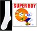 ''Super Boy''  Boys Nylon DRESS Socks  -  White  Sizes: S, M & L