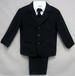 Boys  5Pc Suit With Vest - Black . Sizes: 16-20 ( # 5956B)