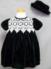 Girls Hunter Green Velvet DRESS & White Lace With Hat