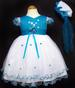 Girls Embroidered Pageant DRESS - Aqua Color