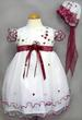 Girls Embroidered Pageant DRESS & Hat - Burgundy Color