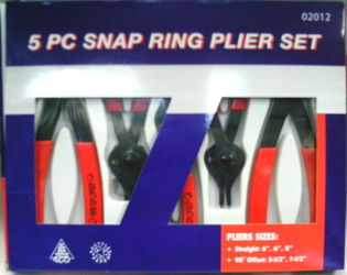 5-PC. SNAP RING PLIERS SET PVC DIPPED HANDLES