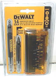 NEW DEWALT 14PC. SCREWGUN BIT SET W/MAGNETIC EXTENSIONS.