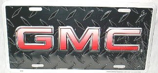 NEW ''GMC'' BLACK CHECKER PLATED LICENSE PLATE,TAG