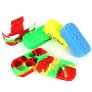 4'' x 2'' x 1'' LEGO Style Stackable Square Non-Stick Silicone Jar