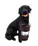 15'' Black Labrador Garden Statue with Solar Lantern for CHRISTMAS