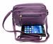 New Genuine Leather cross body bag 3 zipper pocket Black, Purple