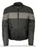 MENS SCOOTER STYLE TEXTILE JACKET GRAY STRIPES
