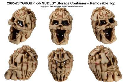 ''GROUP-of-NUDES'' Sensual Skull w/Removable Top