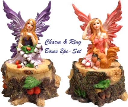 Woodland Fairies Charm & RING Boxes: 2pc-Set