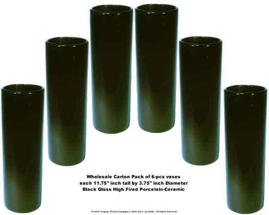 Cylinder Tower VASE Black Porcelain 4'' x 12''