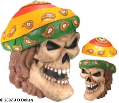 ''Rasta'' Medium Skull W/Removable Lid
