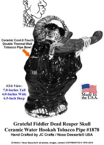 DEAD Fiddler Reaper Skull Ceramic Water Hookah Tobacco Pipe