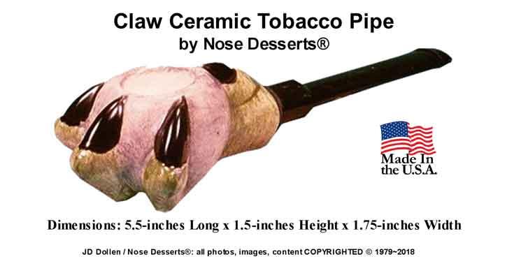 CLAW Glazed Ceramic GLASS Pocket Tobacco PIPE Made in the USA