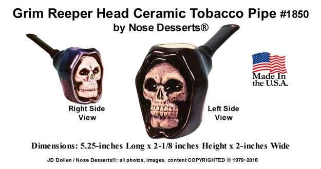 Grim Reaper Skull Ceramic Glass Pocket Tobacco PIPE Made in USA