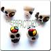 Ceramic JEWELRY skull shaped bead with Peace Sign