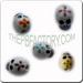 Ceramic JEWELRY skull shaped bead with Colored Flowers