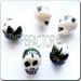 Ceramic JEWELRY skull shaped bead with Leaf