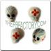 Ceramic JEWELRY skull shaped bead with Day or the Dead art