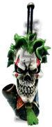 Wicked Clown Skull head FIGURINE resin pipe
