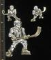 TWO TONE HOCKEY PLAYER PENDANT & EARRING SET