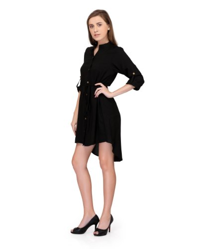 Stitch Circle Women Black SHIRT dress high low hemline