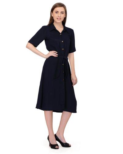 Stitch circle womens navy semi casual ladies DRESS