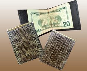 Rattlesnake Skin Basic LEATHER Money Clip